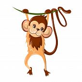 Beautiful Funny Cartoon Monkey, Hung On A Tree Branch. Colorful Little Monkey, A Representative Of P poster