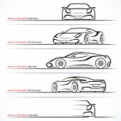 Modern Super Car, Sports Car Vector Silhouettes, Outlines, Contours Isolated On White Background. Fr poster