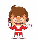 Clipart Picture Of A Superhero Cartoon Character Wearing Headphones poster