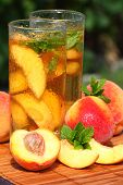 picture of iced-tea  - Glass of fruity ice tea perfect for hot summer