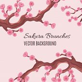 Springtime Japanese Traditional Vector Background With Blossom Cherry Sakura Tree Brunches. Blossom  poster