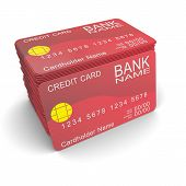 pic of internet shop  - A stack of red credit card - JPG