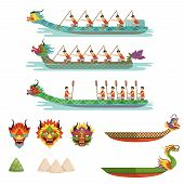Dragon Boats Set, Team Of Male Athletes Compete At Dragon Boat Festival Vector Illustrations On A Wh poster