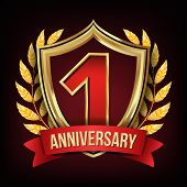 1 Anniversary Banner Vector. One Year Age, First Celebration. Shining Digit Sign. Gold Number One. L poster