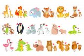 Small Animals And Their Moms Illustration Set. Colorful Childish Style Cartoon Animals In Parent Chi poster