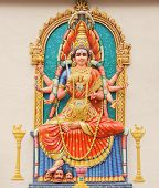 image of vedic  - Hindu Goddess Durga direct frontal overall view - JPG