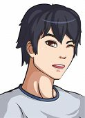 Vector Illustration Of A Young Guy In Grey Shirt. Anime Boy poster