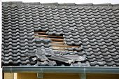 Damage Caused By Storm And Hurricane On The Roof poster