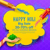Illustration Of Colorful Happy Holi Advertisement Promotional Backgroundd For Festival Of Colors Cel poster