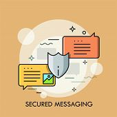 Pair Of Colorful Speech Bubbles And Protective Shield. Concept Of Secured Instant Messaging, Protect poster