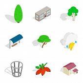 Green Area Icons Set. Isometric Set Of 9 Green Area Vector Icons For Web Isolated On White Backgroun poster