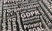 GDPR Word Collage Background Data Security Protection 3d Illustration poster