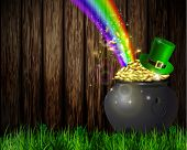 St. Patrick S Day Symbol Pot Full Of Gold Coins Leprechaun Hat And Rainbow Vector Illustration poster