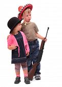 image of sherif  - Boy and girl dressed in retro costume from American Old West - JPG