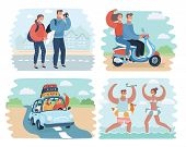 Vector Cartoon Illustration Of Couple In Summer Holidays Scene: Traveling By Car, Beach, Scooter, Ta poster