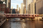 Train Over The Chicago River On Wells Street, Chicago, Illinois, Usa poster