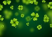 Saint Patricks Day Background Design With Green Falling Clovers Leaf. Irish Lucky Holiday Vector Ill poster