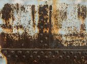Rust Metal Texture With Rivets, Abstract Grunge Background poster