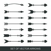 Set Of Black Hand Drawn Arrows For Bow. Hipster Ethnic Vector Elements. Arrow Cupid With A Heart. Il poster