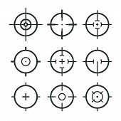 Different Icon Set Of Targets And Destination. Target And Aim, Targeting And Aiming. Vector Illustra poster