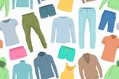Seamless Pattern Of Colorful Clothes. Background Of Clothing. Scattered Clothes poster