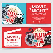 Cinema Tickets Design Concept. Movie Night Invitation. Cinema Poster Template. Composition With Popc poster