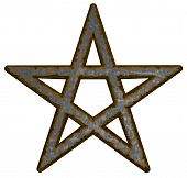 foto of pentacle  - rusty pentacle on white background  - JPG