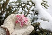 Snowflake Knitted From Pink Thread In Warm Mittens On Background Of Winter Landscape / Gift With A W poster