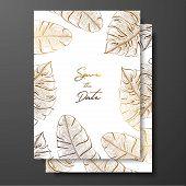 Gold Wedding Invitation With Tropical Leaves. Vector Elements For Design Template. Gold Tropical Lea poster
