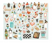 Hand Drawn Vector Abstract Cartoon Cooking Class Illustrations Icons Collection Set With Cooking Che poster