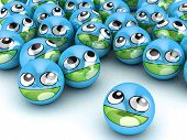 foto of smiley face  - 3D Round Smiley Faces - JPG