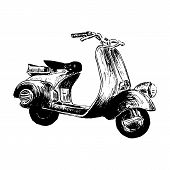 Vintage Motor Scooter. Vector Illustration, Hand Graphics - Old Turquoise Scooter. Italian Symbol. H poster