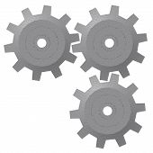 picture of gizmo  - A render of three 3d gears isolated on a white background - JPG