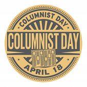 Columnist Day, April 18, Rubber Stamp, Vector Illustration poster