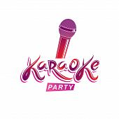 Karaoke Party Inscription, Nightlife Entertainment Conceptual Vector Emblem Created Using Microphone poster