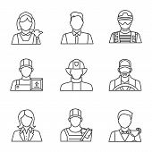 Professions Linear Icons Set. Occupations. Maid, Barman, Office Worker, Soldier, Loader Man, Firefig poster