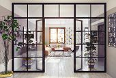 modern apartment interior. glass partition 3d concept poster