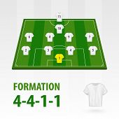 Football Players Lineups, Formation 4-4-1-1. Soccer Half Stadium. poster