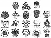 Hand Drawn Black Logos Set For Freeride Theme, Biking Club, Extreme Sports. Different Shapes Vintage poster