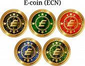 Set Of Physical Golden Coin E-coin (ecn), Digital Cryptocurrency. E-coin (ecn) Icon Set. Vector Illu poster