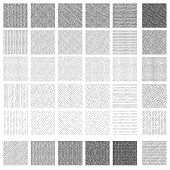 36 Seamless Pattern Of Ink Hand Drawn Linear Hatching And Crosshatching Textures. Texture Has 5 Diff poster