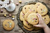Easter Egg Cookies - Homemade Cookies With Chocolate Candy Eggs, Traditional Easter Treats For Kids poster