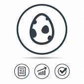 Dinosaur Egg Icon. Birth Symbol. Pokemon Egg Concept. Report Document, Graph Chart And Check Signs.  poster