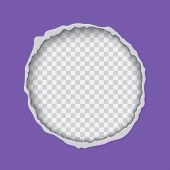 Vector Realistic Illustration Of Ultra Violet Torn Paper With Ripped Edges, Round Shaped Hole Isolat poster