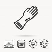 Rubber Gloves Icon. Latex Hand Protection Sign. Housework Cleaning Equipment Symbol. Notebook, Calen poster