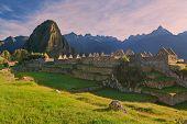 Machu Picchu In Morning Pink Light. Old Inca City In Peru poster