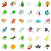 Topography Icons Set. Isometric Set Of 36 Topography Vector Icons For Web Isolated On White Backgrou poster