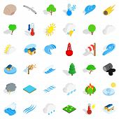 Peaceful Nature Icons Set. Isometric Set Of 36 Peaceful Nature Vector Icons For Web Isolated On Whit poster
