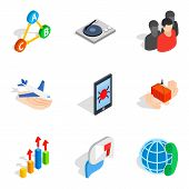Scientific Work Icons Set. Isometric Set Of 9 Scientific Work Vector Icons For Web Isolated On White poster