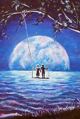 lovers ride on swing, male man and girl woman against background of big moon. night blue ocean, sea  poster
